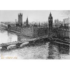 """Картина """"Лондон"""" (Серия Города мира) Бумага, тушь"""